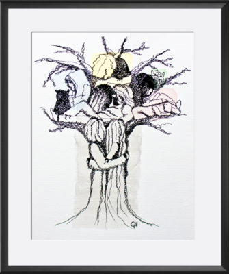 East-Indian ink - Watercolor - Family tree - 2014